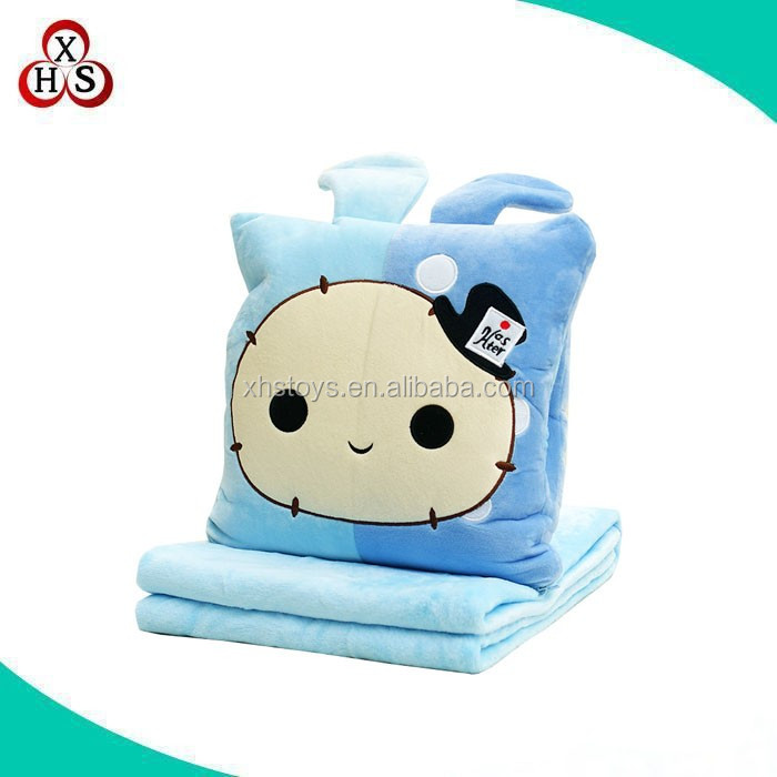 Cute stuffed pillow blanket plush animal shape 2 in 1 pillow blanket