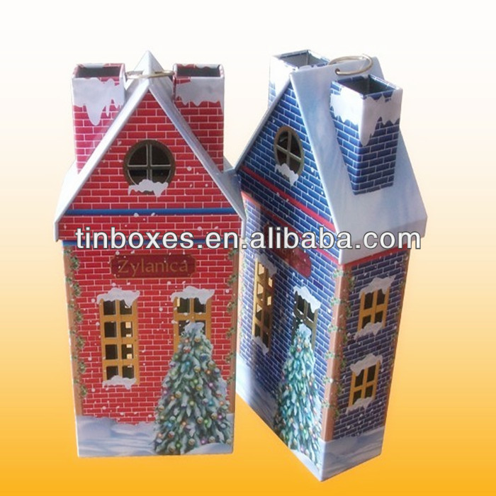 metal unique candy house shaped tin box