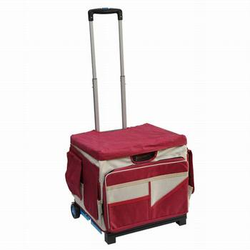 Telescoping Aluminum Handle Rolling Craft Cart with Nylon Liner
