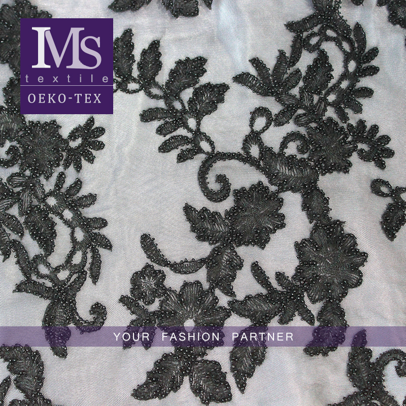 Latest modern black beads embroidery textile fabric for