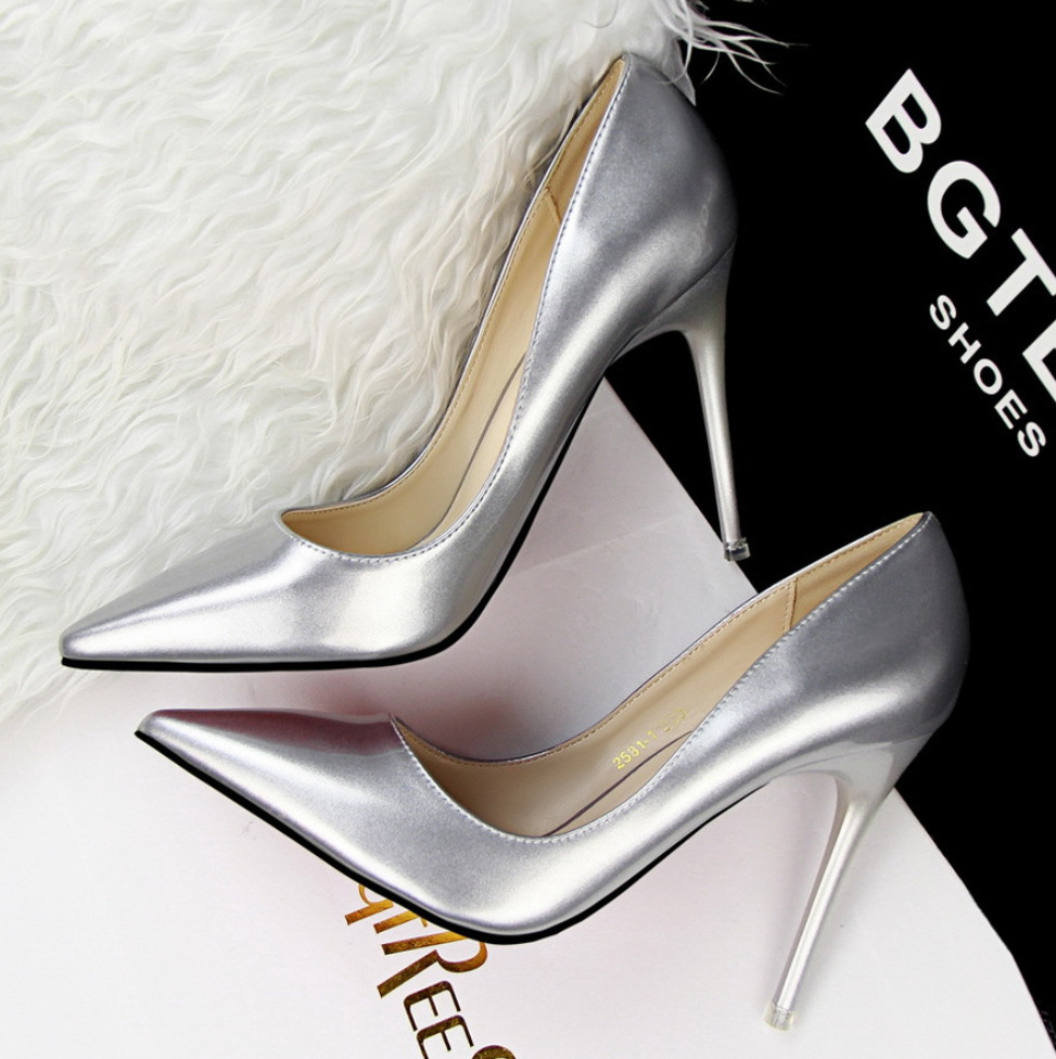 SW1025 pointed toe sexy stiletto heel 10cm patent leather women shoes