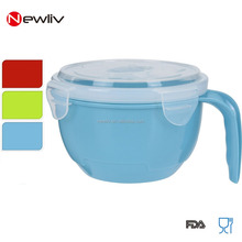 Microwave Plastic Food Noodle Bowl With Lock Vented Lid and handle/Plastic Soup mug with lid and handle