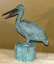 bronze pelican sculpture
