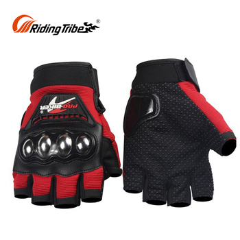 Street Leather Short Skeleton Red And Black Pink Warm Weather Insulated Motorcycle Gloves