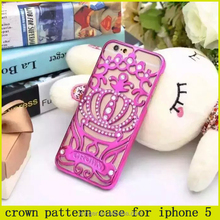 2015 HOT crown pattern bling diamond case for iphone 5,cheap price case for iphone 5