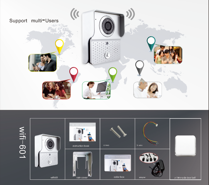 WiFi video door phone multi users