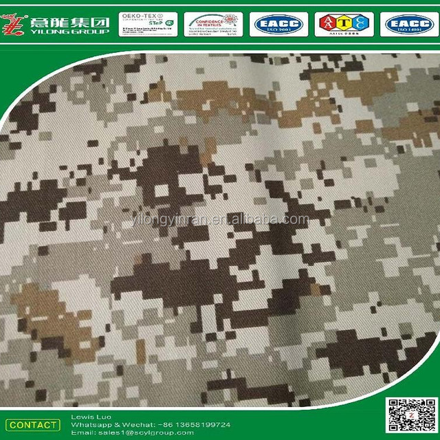 P80/C20 Polyester/Cotton blended fabric printed with combat camouflage for military uniform