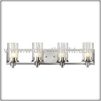UL CUL Listed Brushed Nickel 4 Heads Glass Shades Wall Lamp Lighting Fixtures For Hotel Room W40143