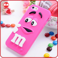 Novelty Cartoon Soft Silicone Rainbow 3D M&M Bean Case for Iphone 5