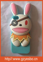 2014 Newest design Lovely 3D Silicone Pirate Cartoon bear /Rabbit Case for iPhone4/S 5/S