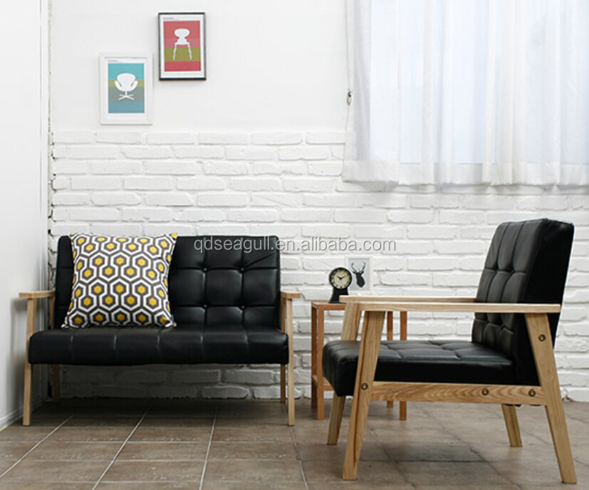 simple style wooden frame sofa with PU cover livingroom furniture sofa set