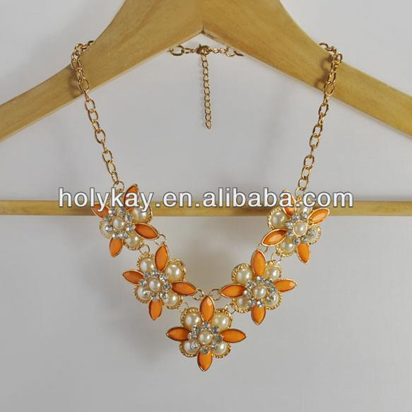 Wholesale 2014 handmade fashion resin beads and pearl flower pendants necklace jewelry from china