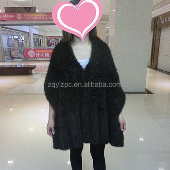 Luxury Knitted Mink Fur Cape / Wholesale Black Mink Fur Shawl