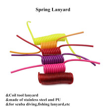 Custom-made PU Coated Spring Coil Tool Lanyard with Safety Stainless Steel Wire Rope Inside