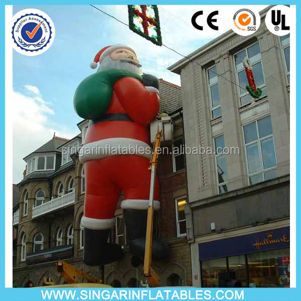 Roof decoration inflatable father christmas,giant climbing santa claus inflatables