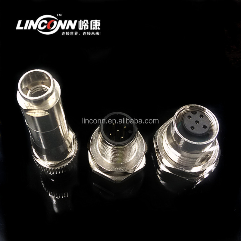 M12 waterproof connector ip68 male plug 12 pin circular connector manufacturer