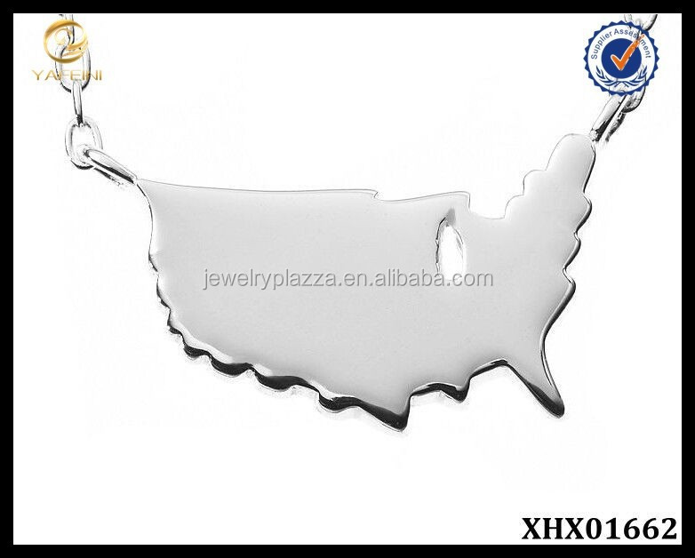 Solid Sterling Silver USA Map Necklace Wholesale Unique Jewelry