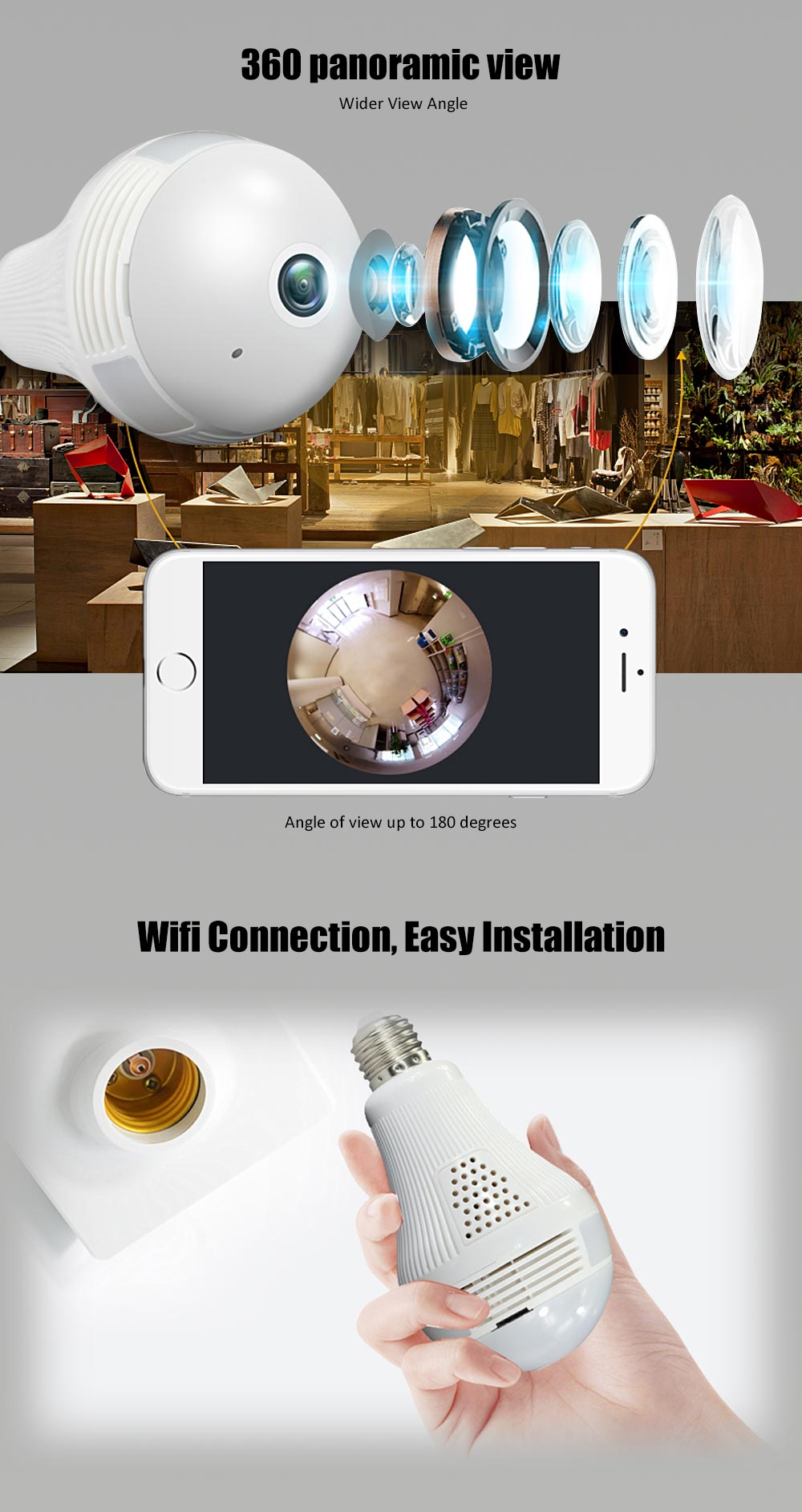 panoramic 360 ceiliing 2MP 1080P wifi light bulb security camera