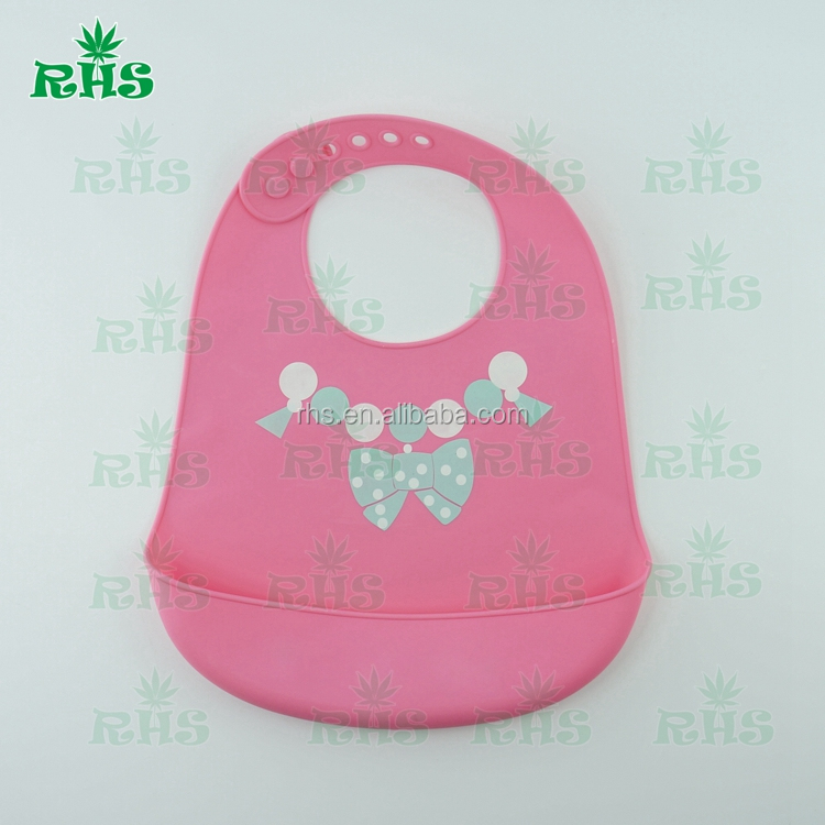 Waterproof Silicone Bib Easy to Clean, Soft Baby Bibs with Printing, OEM Service Provided