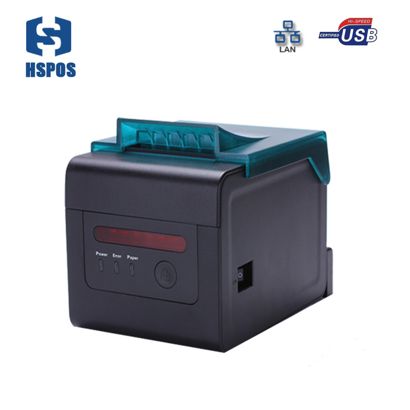 pos 80 c printer drivers HS-H81UL food bill printer with dustproof cover and auto cutter