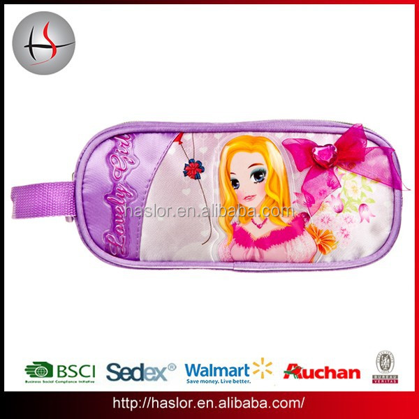 Wholesale school zipper pencil bag with webbing handle for girls