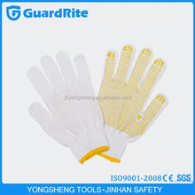 GuardRite brand 25cm 100% plain white cotton gloves supplier in zhejiang china with yellow dotted