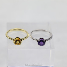 Excellent Unique Style Good Luster Amethyst Gemstone Ring New Gold Design Citrine Ladies Finger Ring