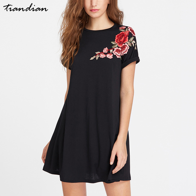 Black Plain Embroidered Flower Patch Round Neck Roll Cuff Swing Tee Dress