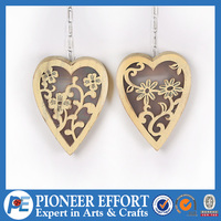Decorative wood craft hanging ornament with led light in heart shape