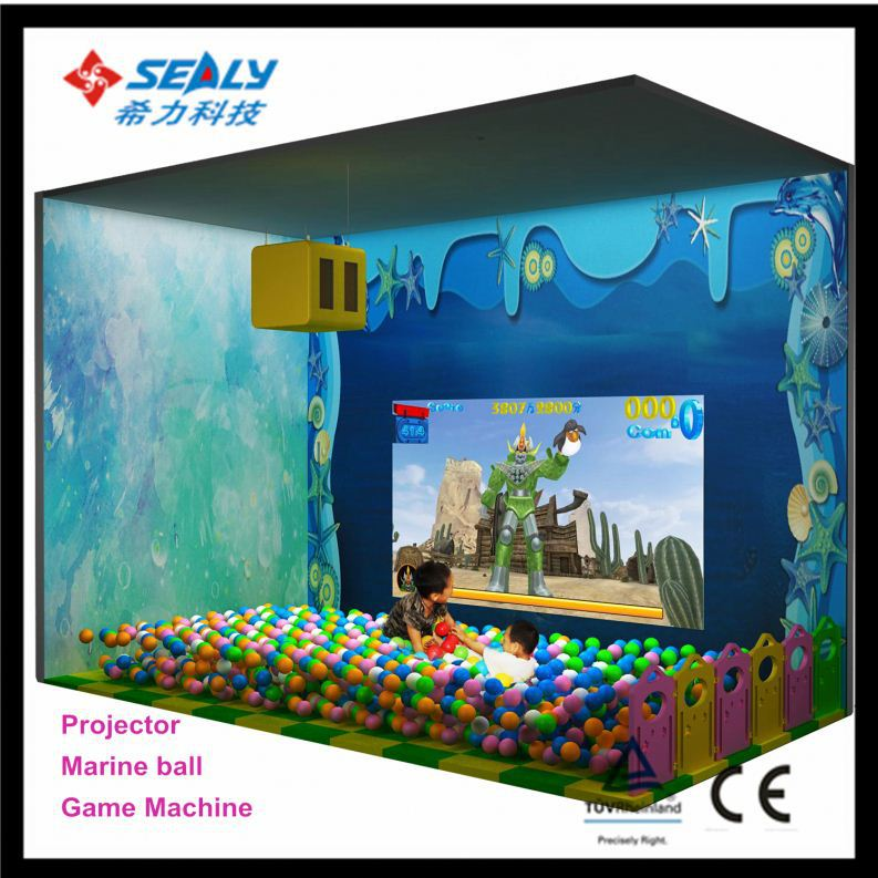 playground kids play zone for super market, soft climbing game for kids, Projector interaction game Penguin X-ball