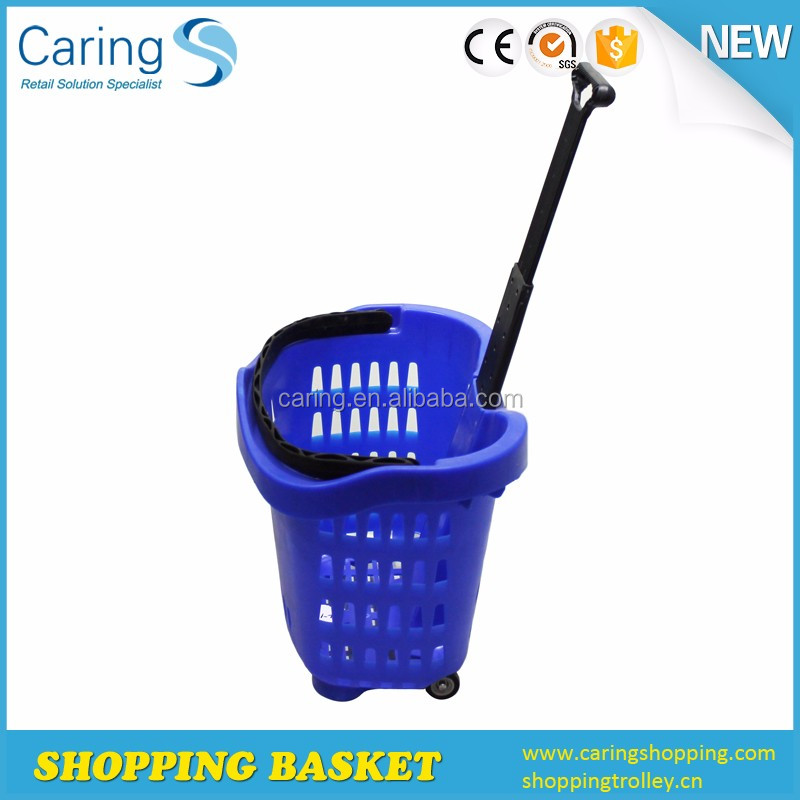 42l With 1.5'' Wheels Plastic Supermarket Rolling Hand Basket