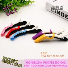 Customized logo home clear plastic hair clip with colorful for girls