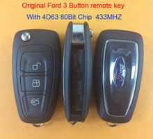 Best Originall Original Ford 3 button 4D63 80Bit Chip remote car key with 433MHZ