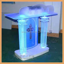 Hot sale Plexiglass Church Pulpit With Led Light acrylic Christian pulpit
