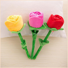 Valentine Day Gift Long Stem stuffed Soft Rose Plush Flower Toy