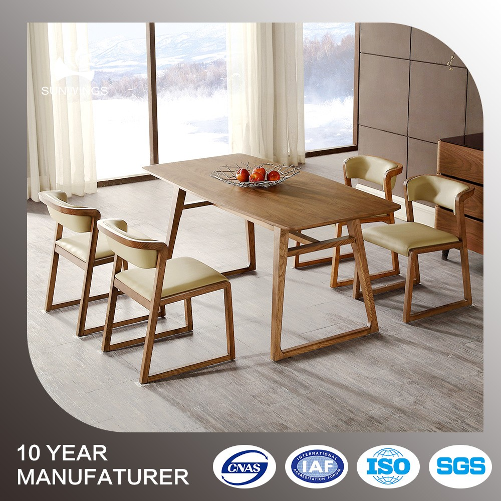 Factory price french bistro wooden dining table set with chairs made in china