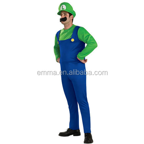 Popular funny men size super marion bros luigi mascot fancy dress costume BMG8065