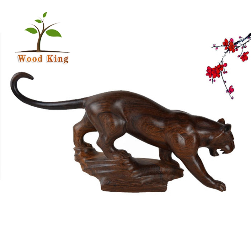 Black Rosewood Wholesale Animal Wood Tiger Statue Crafts Office Table Decoration Item Decorative Wood Carving