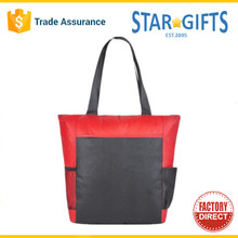 Wholesale Custom Polyester Zippered Business Meeting Tote Bag With Side Pockets