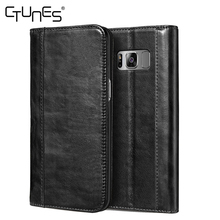C&T Genuine Leather Wallet Case Folio Foldable Stand Protective Cover for Galaxy S8