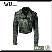 Bulk wholesale clothing cheap faux leather jacket, ladies fancy jacket