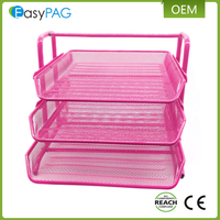 EasyPAG pink 3 tier mesh desk organizer document tray wall mounted file holder