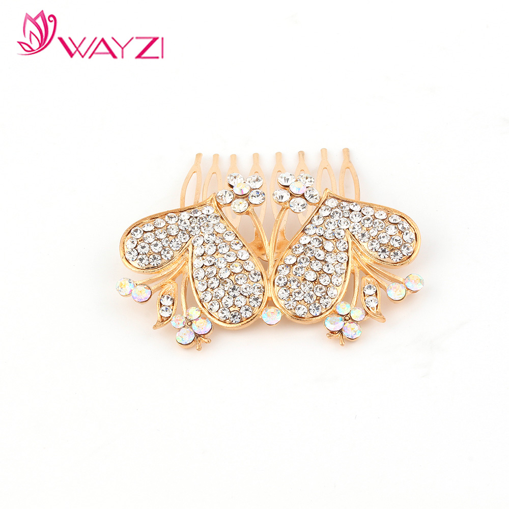Wayzi brand fashion alloy peach heart shape women decorative Hair combs