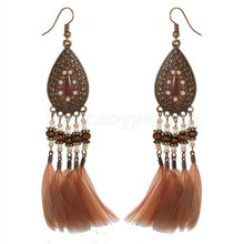 Wholesale handmade fashion women beaded natural feathers bronze earring