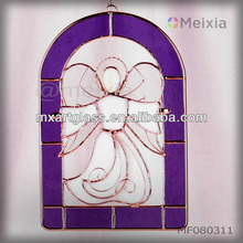 MF080311 tiffany style stained glass angel wall hanging panel for christmas gift set