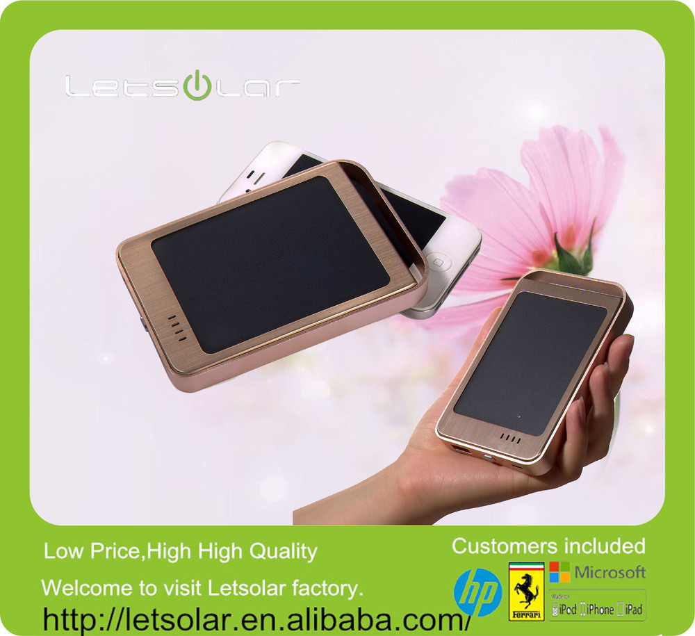 High efficiency champagne gold metal case 6000mAh li-ion battery solar charger for mobile phone, iPhone and smartphone