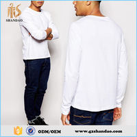 2016 Guangzhou Shandao men's 180g O-neck long sleeve blank plain wholesale 100% cotton soft and thin t shirts