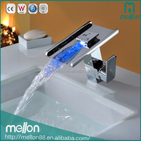 High power LED brass waterfall baisn single taps faucet chrome tap faucet hydro power led faucet