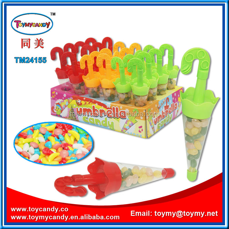 2016 hot selling christmas candy plastic mini toy umbrella candy or jellybean fit inside of unbrella container