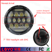 "top selling best quality 7"" 75w 7 inch round led headlight for jeep"